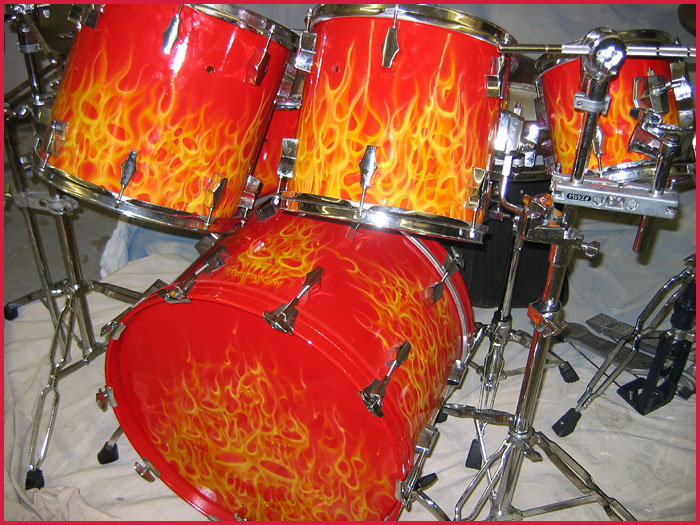 Red Hot Drum Set - Cassatto Airbrushing - Custom Paints and